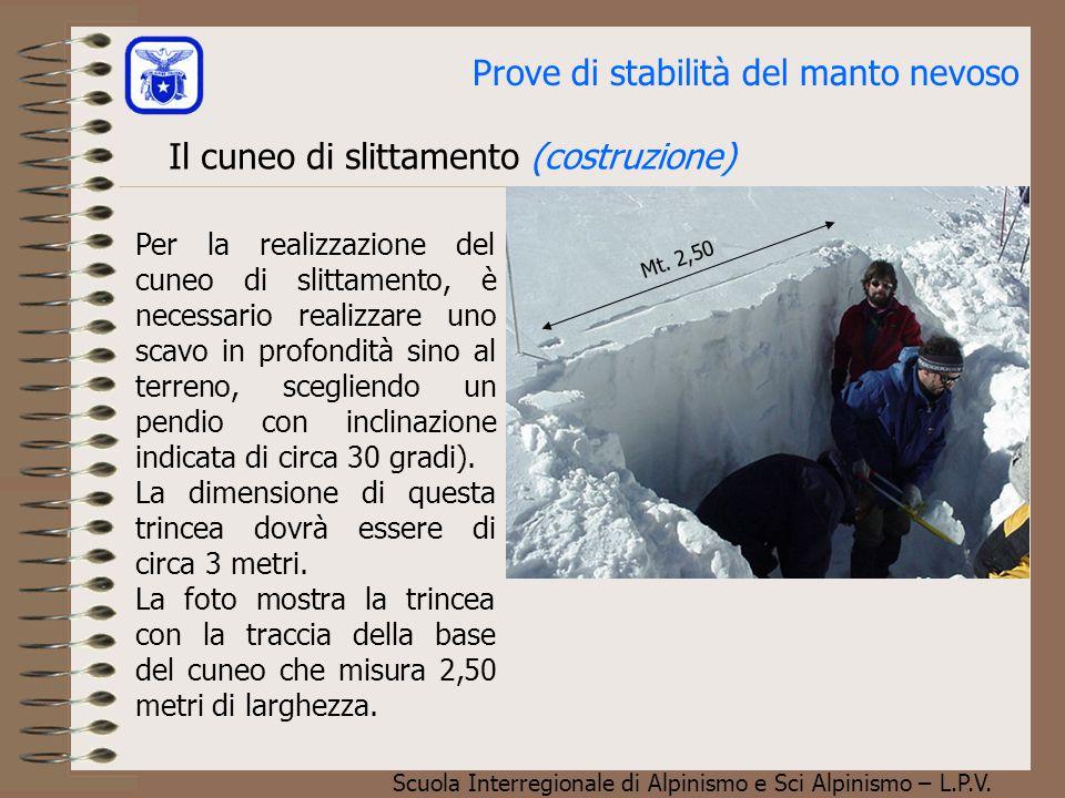 Scuola Interregionale di Alpinismo e Sci Alpinismo – L.P.V. Prove di stabilità del manto nevoso Il cuneo di slittamento (costruzione) Per la realizzaz