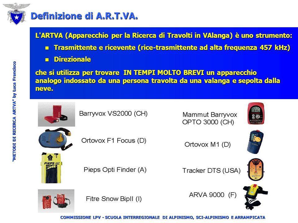 COMMISSIONE LPV - SCUOLA INTERREGIONALE DI ALPINISMO, SCI-ALPINISMO E ARRAMPICATA METODI DI RICERCA ARTVA by Luca Francisco Definizione di A.R.T.VA.