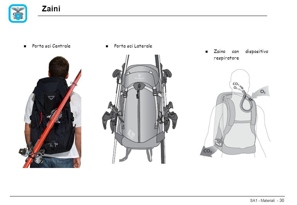 SA1 - Materiali - 30 Zaini n Porta sci Centrale n Porta sci Laterale n Zaino con dispositivo respiratore