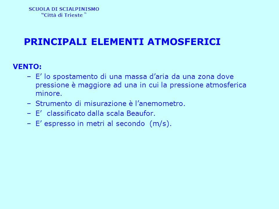 """SCUOLA DI SCIALPINISMO """"Città di Trieste """" PRINCIPALI ELEMENTI ATMOSFERICI VENTO: –E' lo spostamento di una massa d'aria da una zona dove pressione è"""