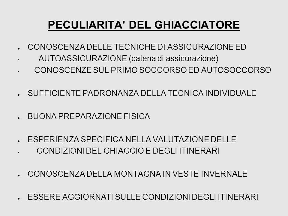 PECULIARITA' DEL GHIACCIATORE ● CONOSCENZA DELLE TECNICHE DI ASSICURAZIONE ED AUTOASSICURAZIONE (catena di assicurazione) CONOSCENZE SUL PRIMO SOCCORS