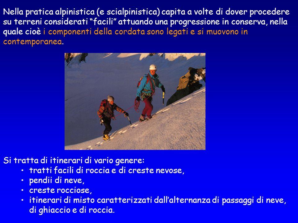 """Nella pratica alpinistica (e scialpinistica) capita a volte di dover procedere su terreni considerati """"facili"""" attuando una progressione in conserva,"""