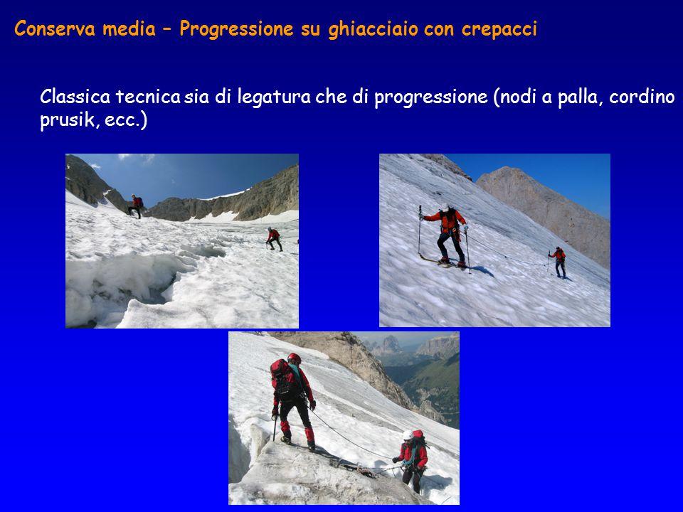 Conserva media – Progressione su ghiacciaio con crepacci Classica tecnica sia di legatura che di progressione (nodi a palla, cordino prusik, ecc.)