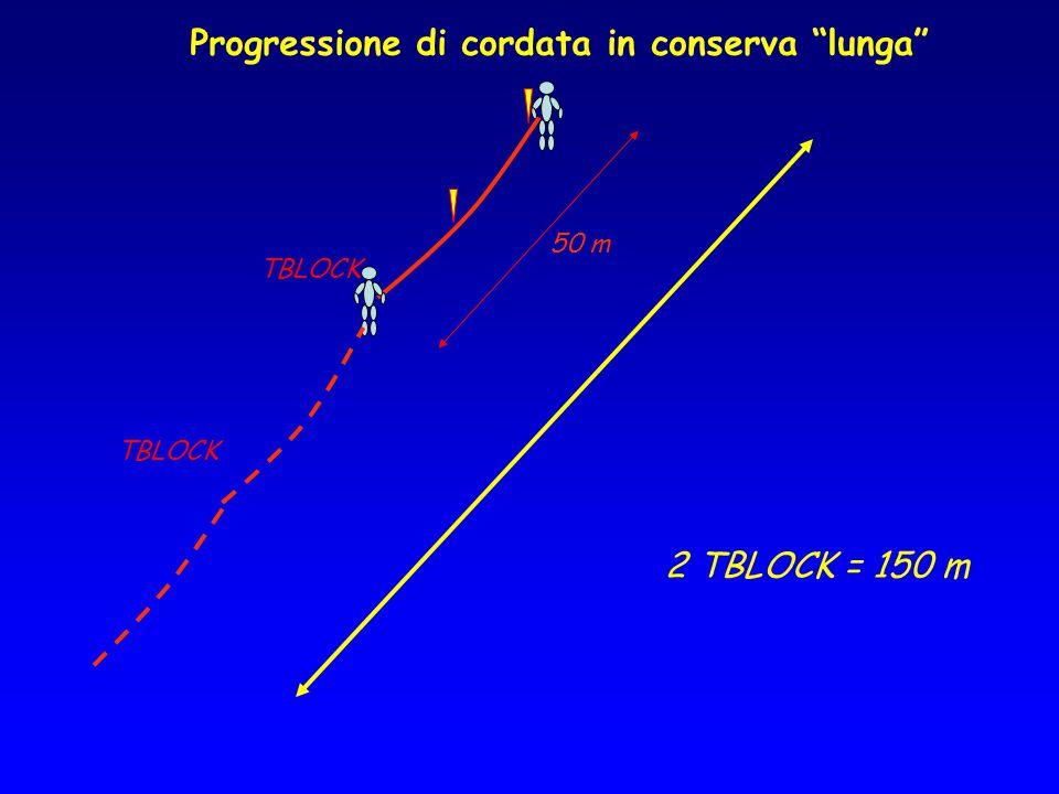 """Progressione di cordata in conserva """"lunga"""" TBLOCK 2 TBLOCK = 150 m 50 m"""