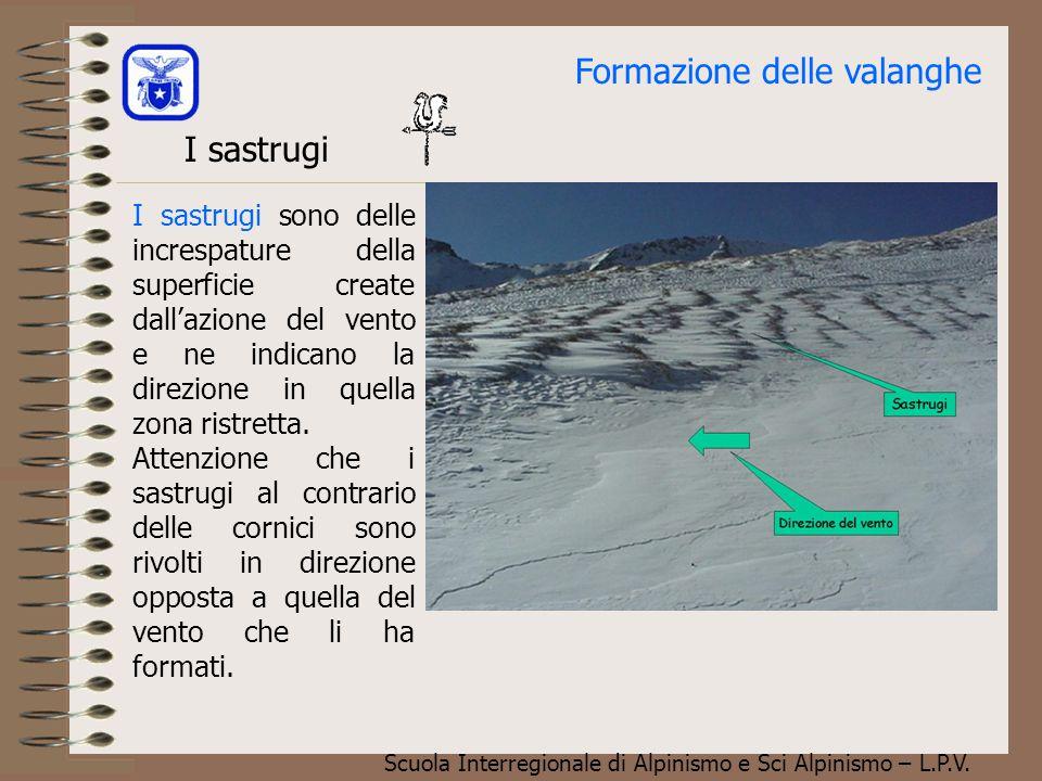 Scuola Interregionale di Alpinismo e Sci Alpinismo – L.P.V. Le cornici Le cornici sono l'indicazione più chiara dell'azione del vento in quella zona.