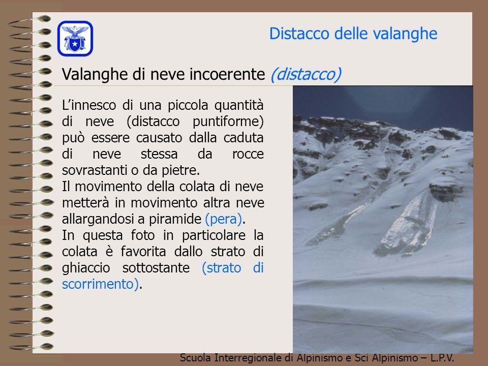 Scuola Interregionale di Alpinismo e Sci Alpinismo – L.P.V. Valanghe di neve incoerente (distacco) Strato superficiale incoerente Perdita locale di co