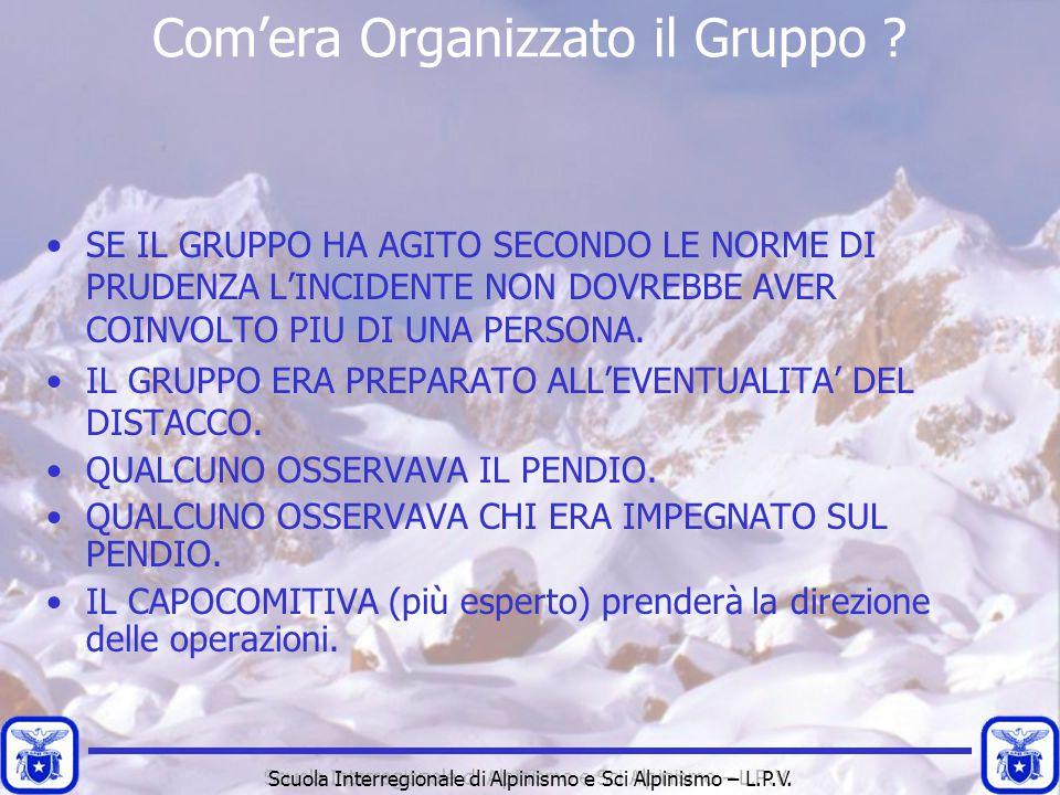Scuola Interregionale di Alpinismo e Sci Alpinismo – L.P.V. Com'era Organizzato il Gruppo ? SE IL GRUPPO HA AGITO SECONDO LE NORME DI PRUDENZA L'INCID