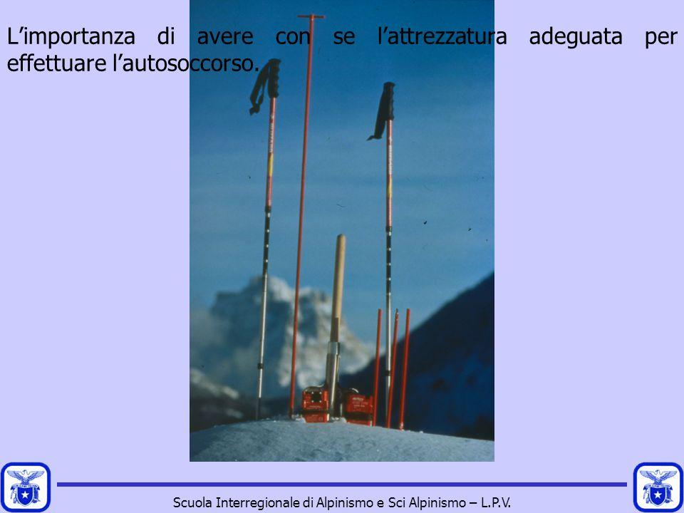Scuola Interregionale di Alpinismo e Sci Alpinismo – L.P.V. L'importanza di avere con se l'attrezzatura adeguata per effettuare l'autosoccorso.