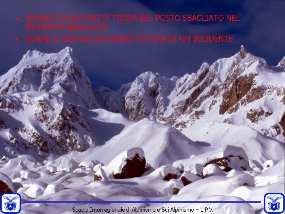 Scuola Interregionale di Alpinismo e Sci Alpinismo – L.P.V. QUANDO QUALCUNO SI TROVA NEL POSTO SBAGLIATO NEL MOMENTO SBAGLIATO. CORRE IL RISCHIO DI ES