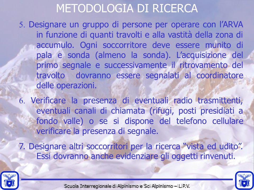 METODOLOGIA DI RICERCA 5. Designare un gruppo di persone per operare con l'ARVA in funzione di quanti travolti e alla vastità della zona di accumulo.
