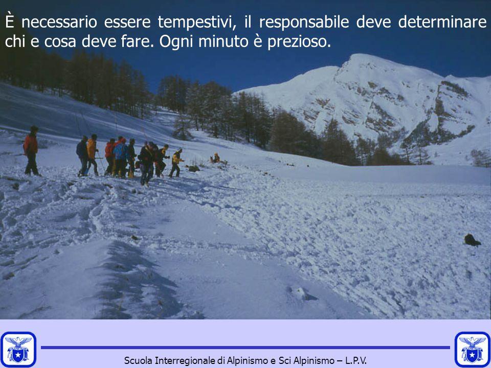 Scuola Interregionale di Alpinismo e Sci Alpinismo – L.P.V. È necessario essere tempestivi, il responsabile deve determinare chi e cosa deve fare. Ogn