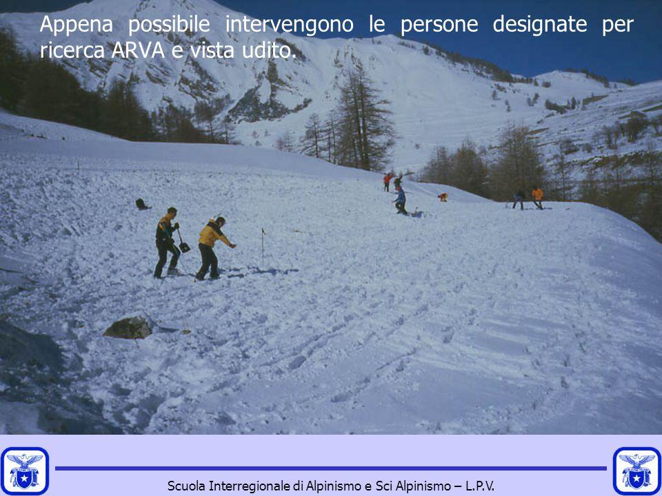 Scuola Interregionale di Alpinismo e Sci Alpinismo – L.P.V. Appena possibile intervengono le persone designate per ricerca ARVA e vista udito.