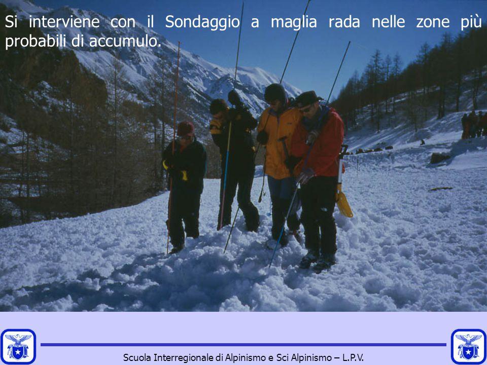Scuola Interregionale di Alpinismo e Sci Alpinismo – L.P.V. Si interviene con il Sondaggio a maglia rada nelle zone più probabili di accumulo.