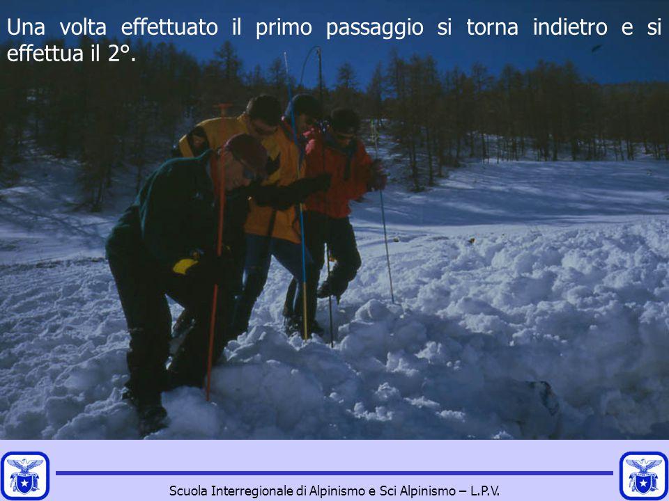 Scuola Interregionale di Alpinismo e Sci Alpinismo – L.P.V. Una volta effettuato il primo passaggio si torna indietro e si effettua il 2°.