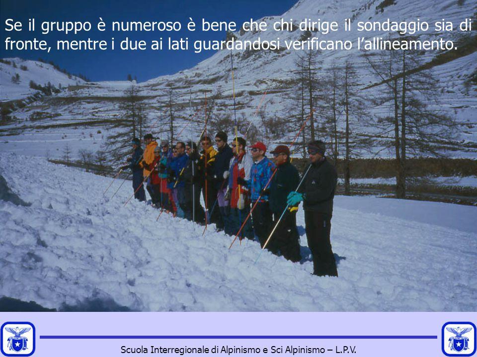 Scuola Interregionale di Alpinismo e Sci Alpinismo – L.P.V. Se il gruppo è numeroso è bene che chi dirige il sondaggio sia di fronte, mentre i due ai