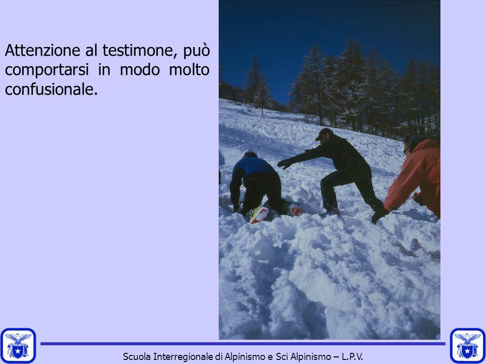Scuola Interregionale di Alpinismo e Sci Alpinismo – L.P.V. Attenzione al testimone, può comportarsi in modo molto confusionale.