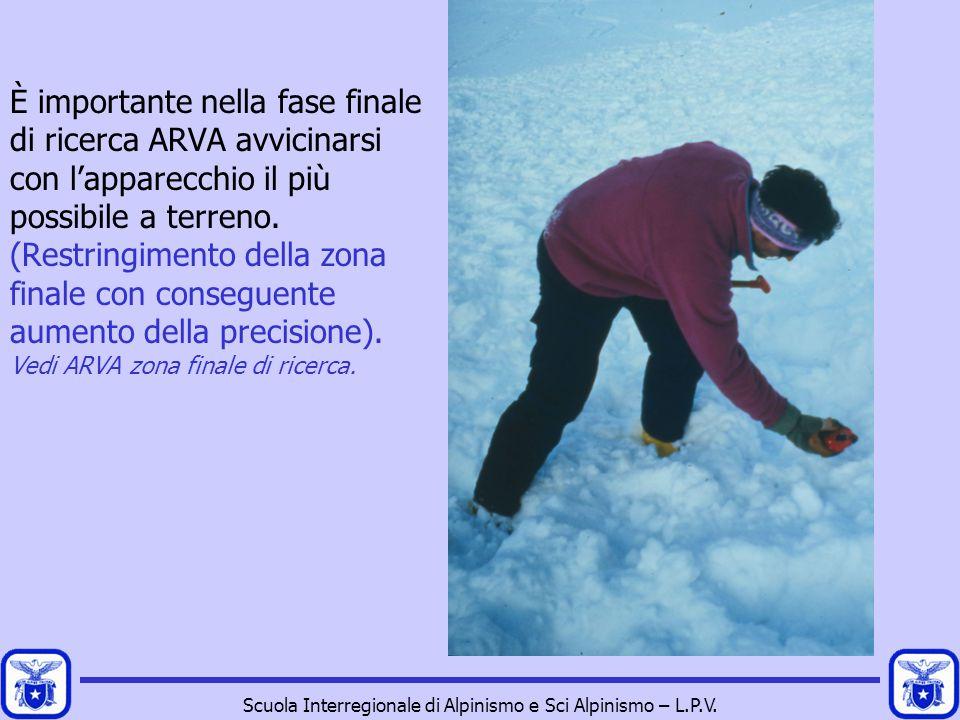Scuola Interregionale di Alpinismo e Sci Alpinismo – L.P.V. È importante nella fase finale di ricerca ARVA avvicinarsi con l'apparecchio il più possib