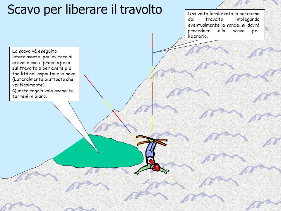 Scuola Interregionale di Alpinismo e Sci Alpinismo – L.P.V. Scavo per liberare il travolto Lo scavo và eseguito lateralmente, per evitare di gravare c