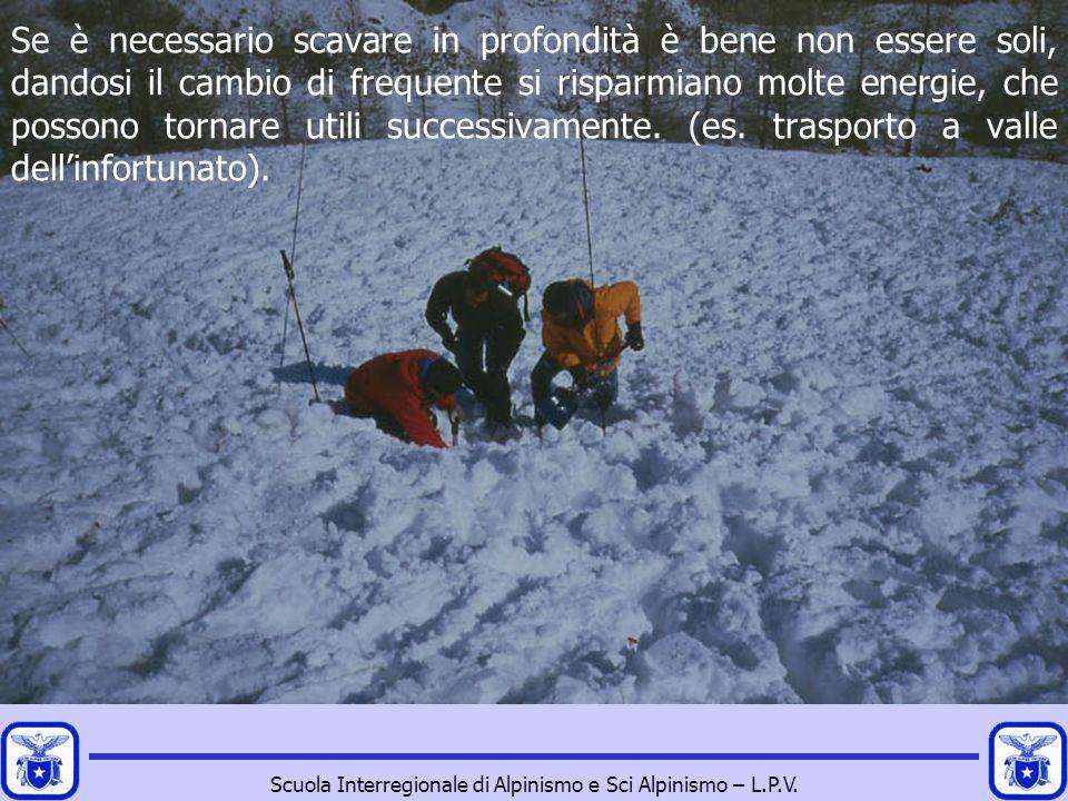 Scuola Interregionale di Alpinismo e Sci Alpinismo – L.P.V. Se è necessario scavare in profondità è bene non essere soli, dandosi il cambio di frequen
