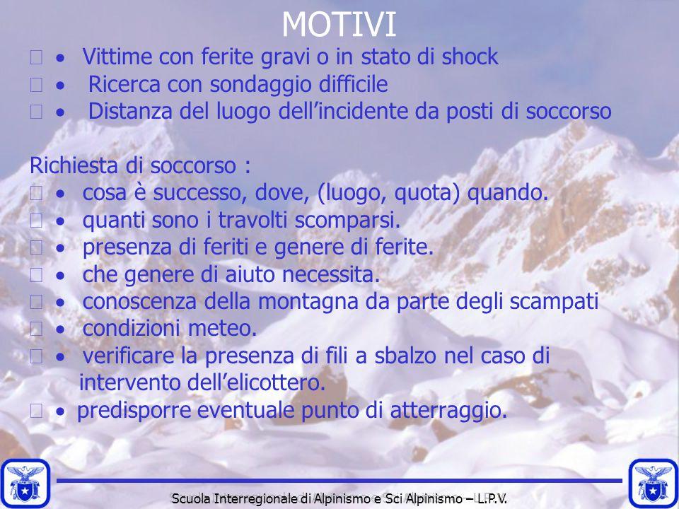 Scuola Interregionale di Alpinismo e Sci Alpinismo – L.P.V. MOTIVI  Vittime con ferite gravi o in stato di shock  Ricerca con sondaggio difficile