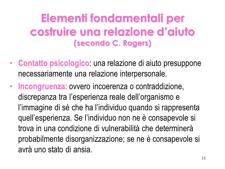 11 Elementi fondamentali per costruire una relazione d'aiuto (secondo C. Rogers) Contatto psicologico : una relazione di aiuto presuppone necessariame