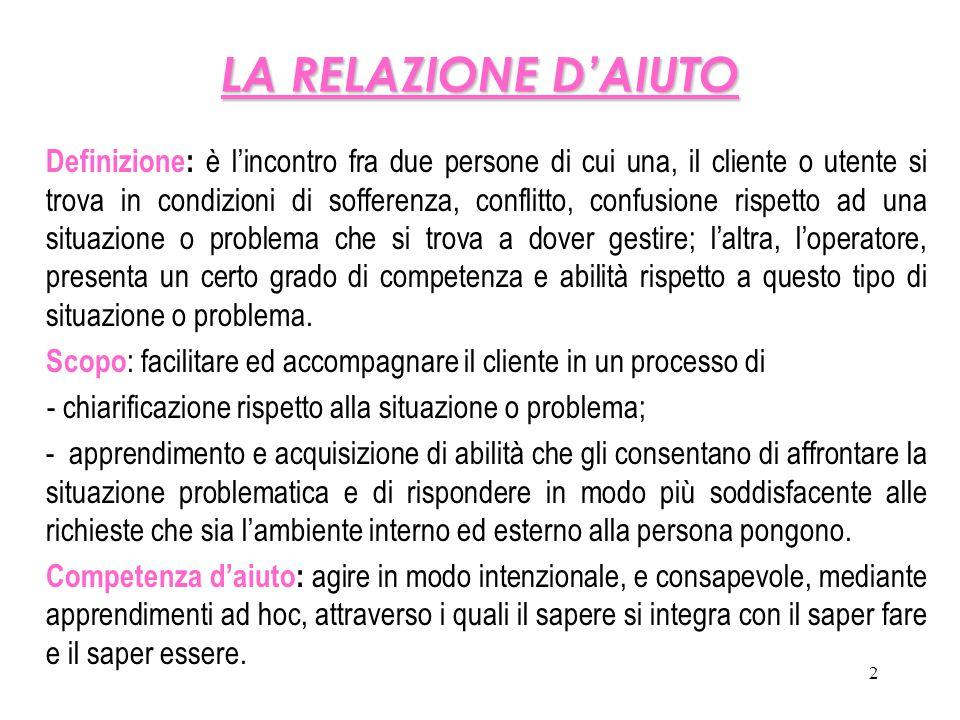 2 LA RELAZIONE D'AIUTO Definizione: è l'incontro fra due persone di cui una, il cliente o utente si trova in condizioni di sofferenza, conflitto, conf
