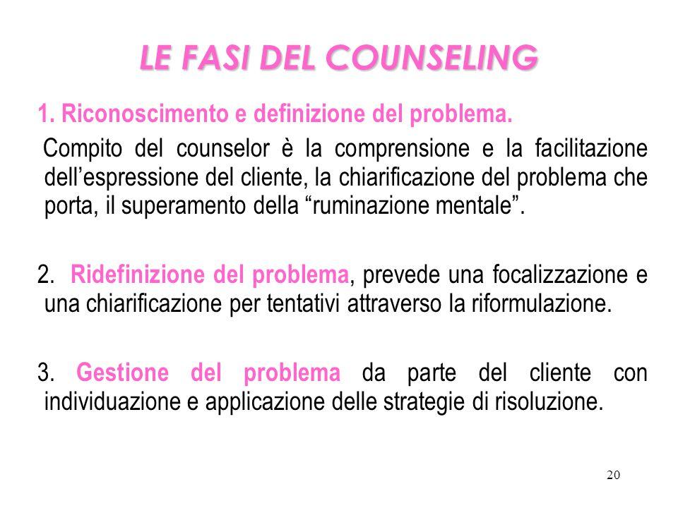 20 LE FASI DEL COUNSELING 1. Riconoscimento e definizione del problema. Compito del counselor è la comprensione e la facilitazione dell'espressione de