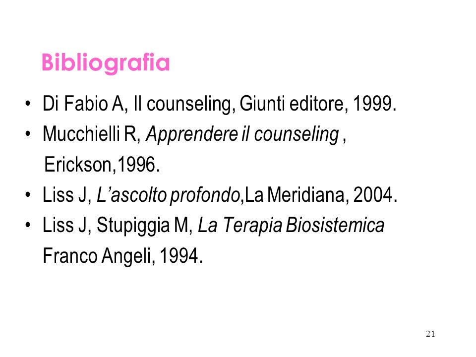21 Bibliografia Di Fabio A, Il counseling, Giunti editore, 1999. Mucchielli R, Apprendere il counseling, Erickson,1996. Liss J, L'ascolto profondo,La