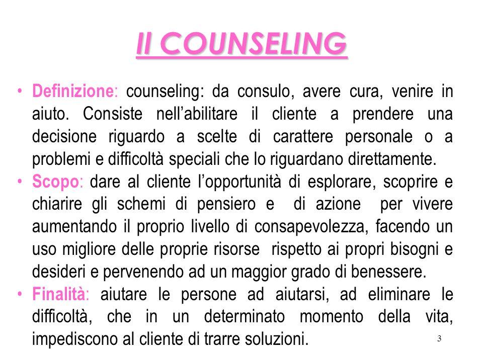 3 Il COUNSELING Definizione : counseling: da consulo, avere cura, venire in aiuto. Consiste nell'abilitare il cliente a prendere una decisione riguard