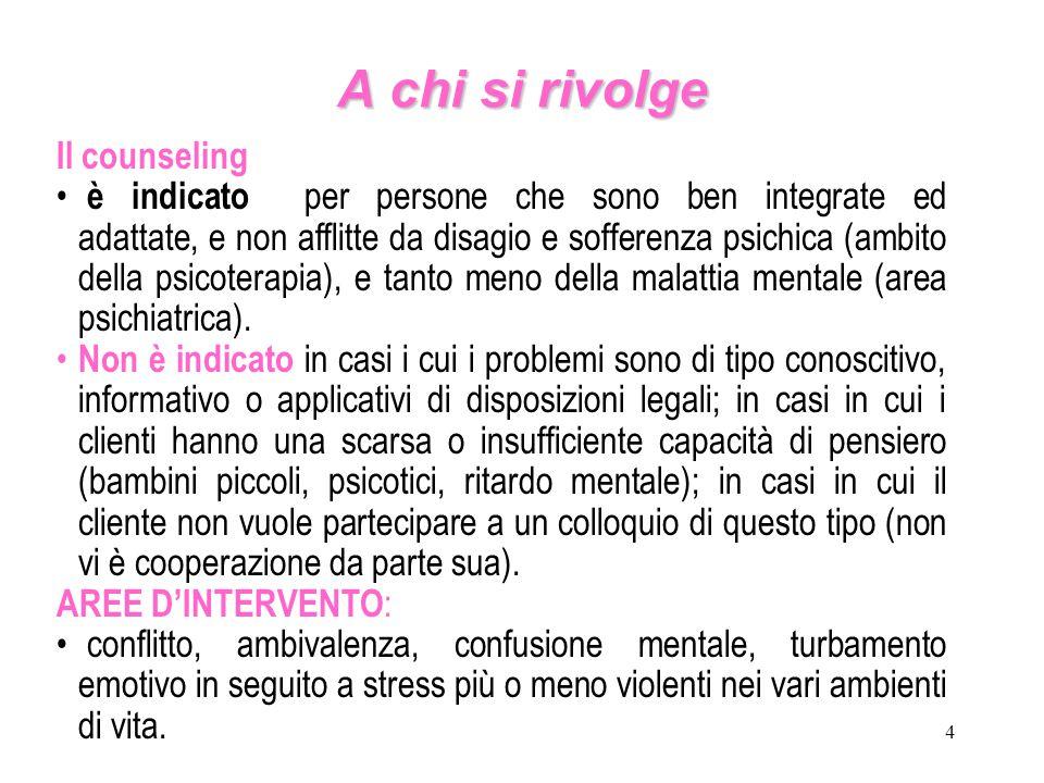 4 A chi si rivolge Il counseling è indicato per persone che sono ben integrate ed adattate, e non afflitte da disagio e sofferenza psichica (ambito de