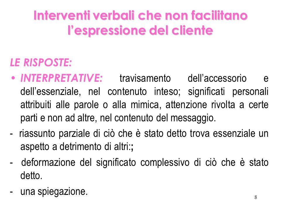 8 Interventi verbali che non facilitano l'espressione del cliente LE RISPOSTE: INTERPRETATIVE: travisamento dell'accessorio e dell'essenziale, nel con