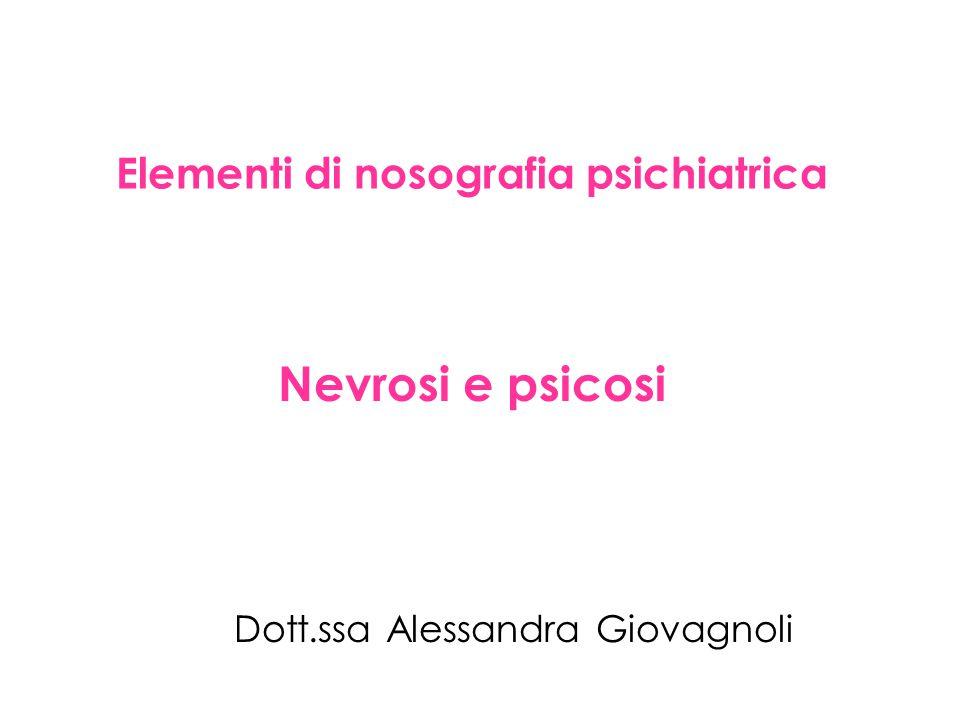 Elementi di nosografia psichiatrica Nevrosi e psicosi Dott.ssa Alessandra Giovagnoli