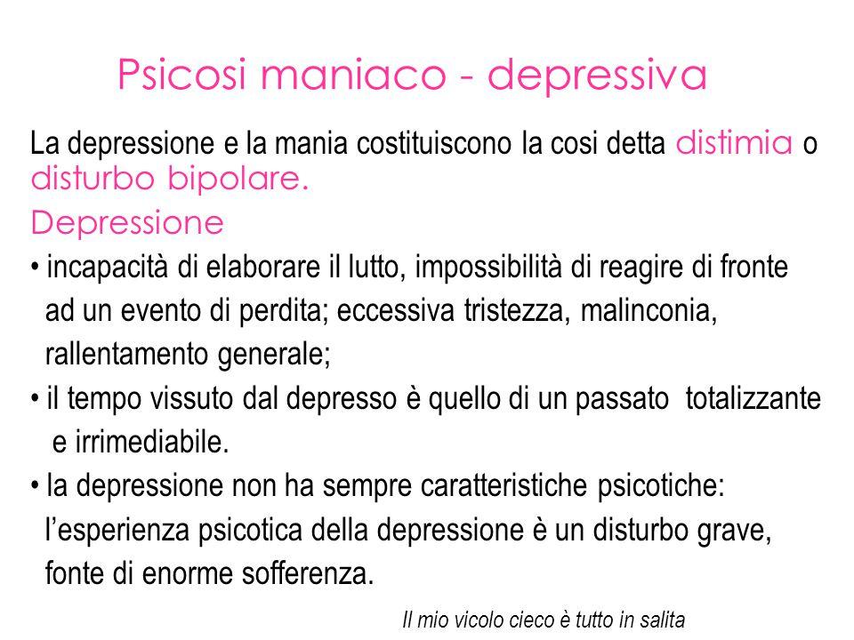 Psicosi maniaco - depressiva La depressione e la mania costituiscono la cosi detta distimia o disturbo bipolare. Depressione incapacità di elaborare i