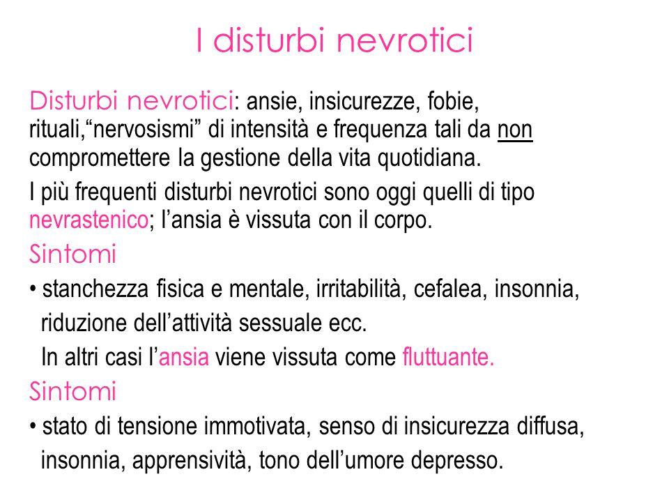 """I disturbi nevrotici Disturbi nevrotici : ansie, insicurezze, fobie, rituali,""""nervosismi"""" di intensità e frequenza tali da non compromettere la gestio"""
