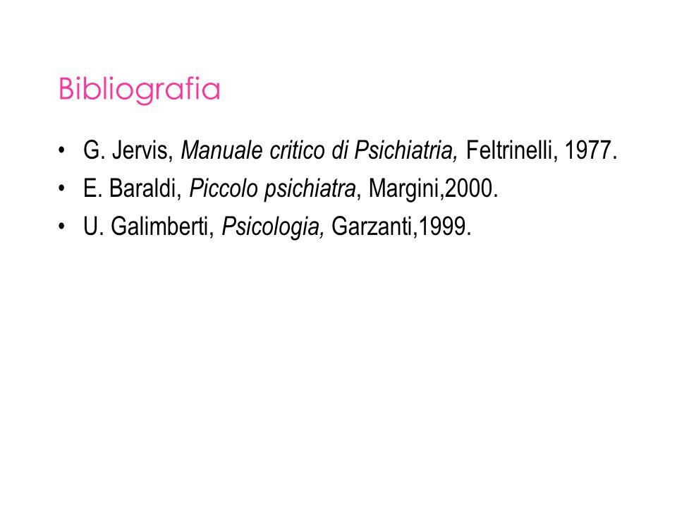 Bibliografia G. Jervis, Manuale critico di Psichiatria, Feltrinelli, 1977. E. Baraldi, Piccolo psichiatra, Margini,2000. U. Galimberti, Psicologia, Ga