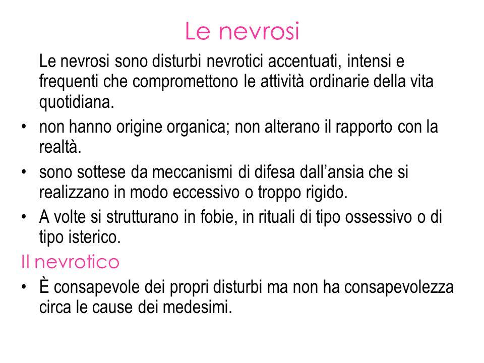 Le nevrosi Le nevrosi sono disturbi nevrotici accentuati, intensi e frequenti che compromettono le attività ordinarie della vita quotidiana. non hanno