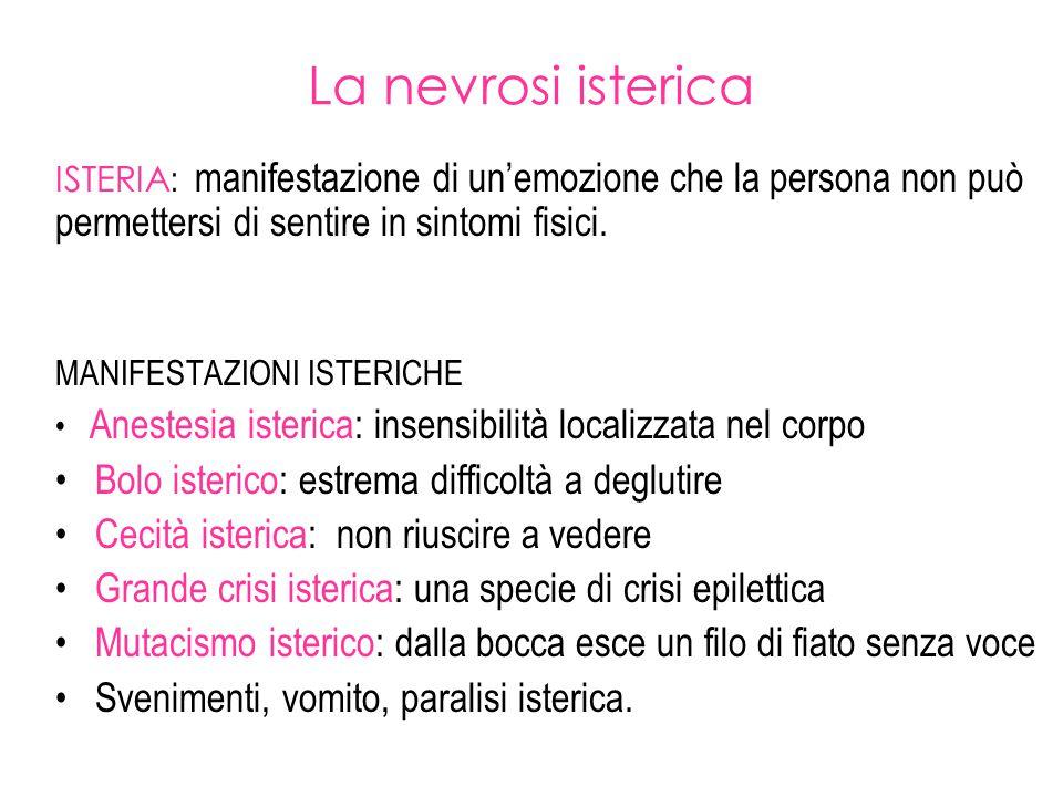 La nevrosi isterica ISTERIA : manifestazione di un'emozione che la persona non può permettersi di sentire in sintomi fisici. MANIFESTAZIONI ISTERICHE