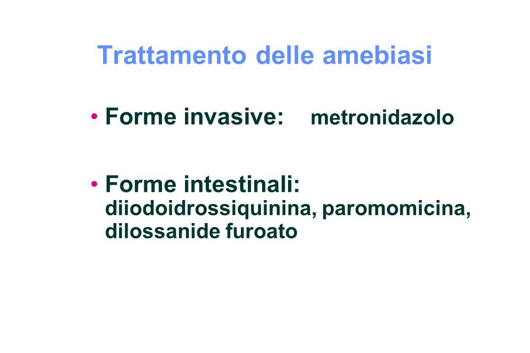 Trattamento delle amebiasi Forme invasive: metronidazolo Forme intestinali: diiodoidrossiquinina, paromomicina, dilossanide furoato