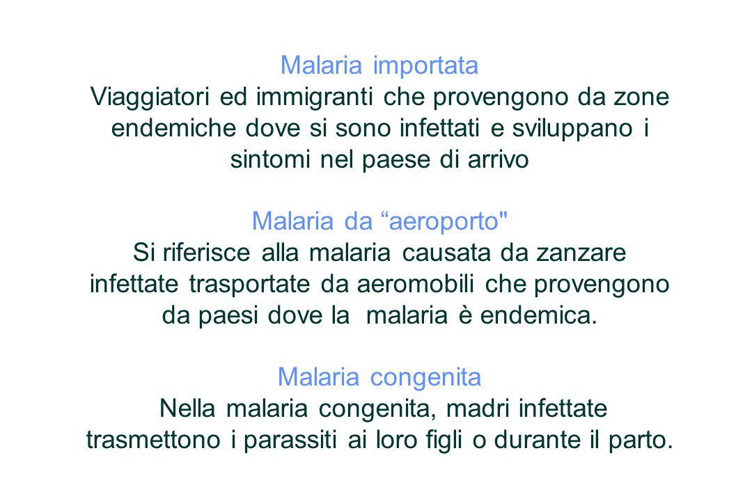 Malaria importata Viaggiatori ed immigranti che provengono da zone endemiche dove si sono infettati e sviluppano i sintomi nel paese di arrivo Malaria da aeroporto Si riferisce alla malaria causata da zanzare infettate trasportate da aeromobili che provengono da paesi dove la malaria è endemica.