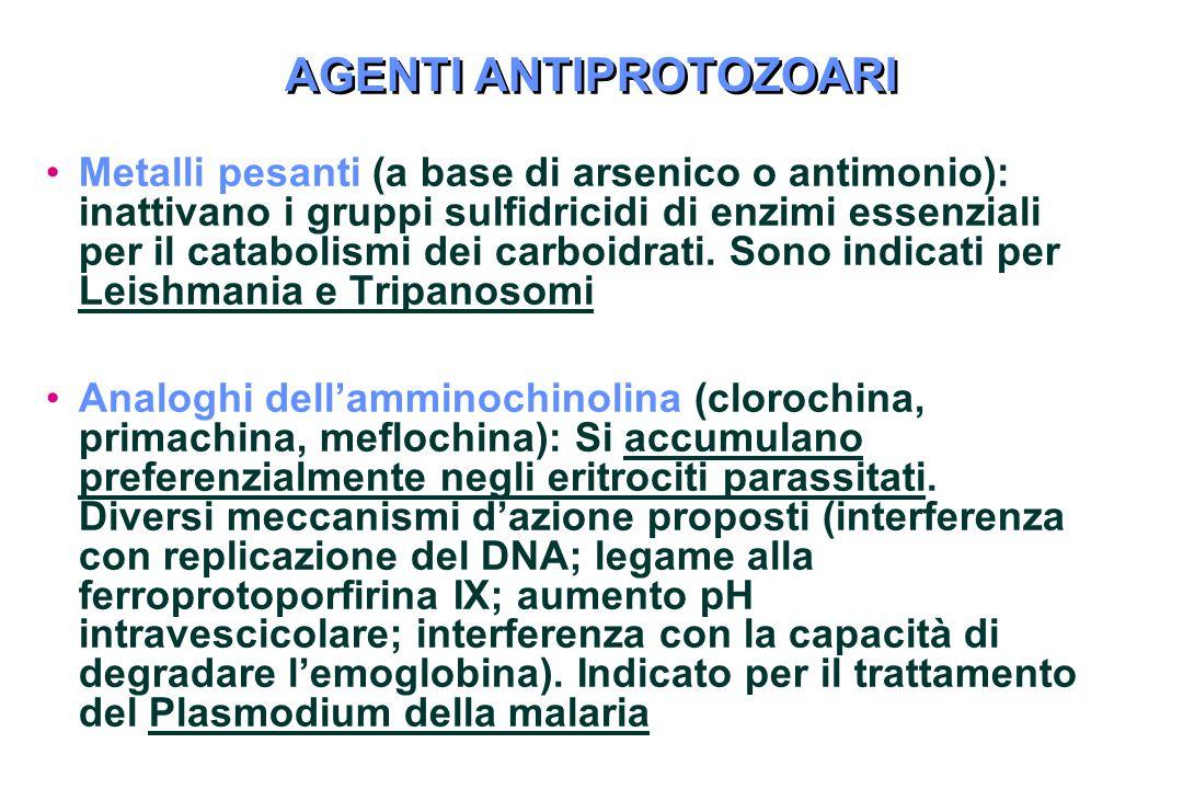 AGENTI ANTIPROTOZOARI Metalli pesanti (a base di arsenico o antimonio): inattivano i gruppi sulfidricidi di enzimi essenziali per il catabolismi dei carboidrati.