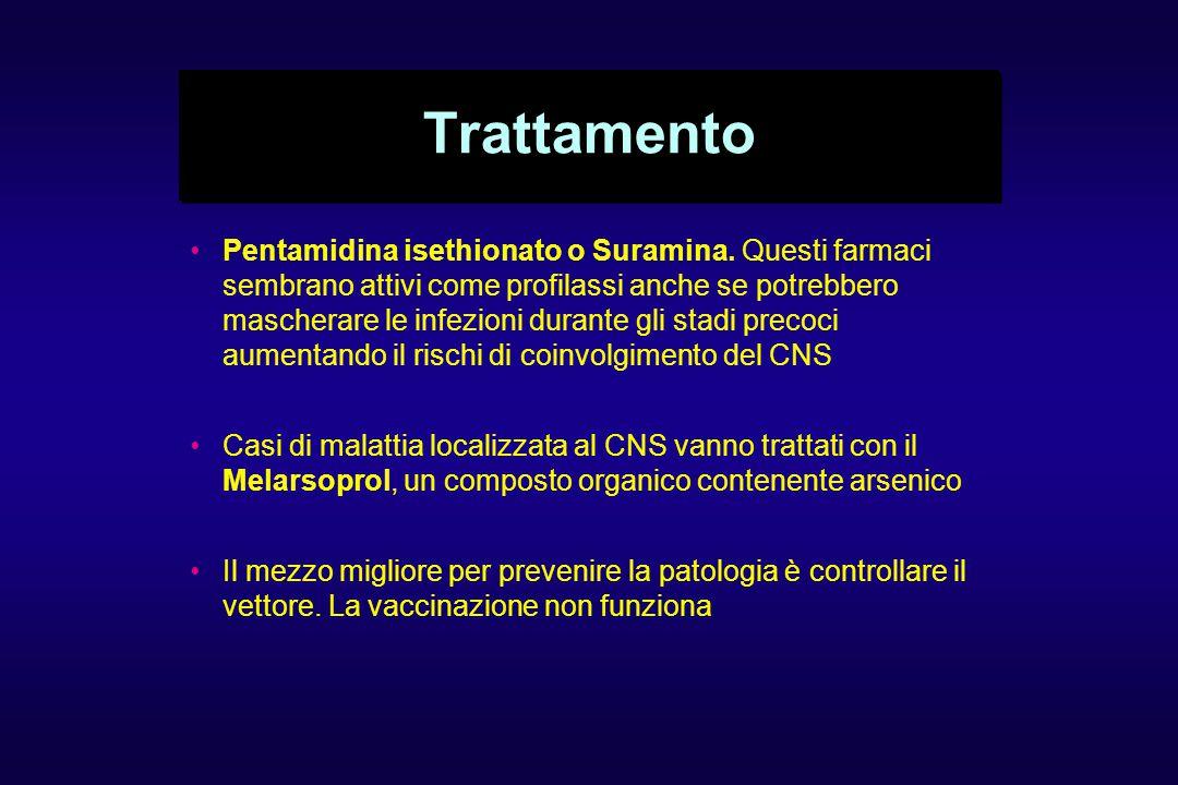 Trattamento Pentamidina isethionato o Suramina. Questi farmaci sembrano attivi come profilassi anche se potrebbero mascherare le infezioni durante gli