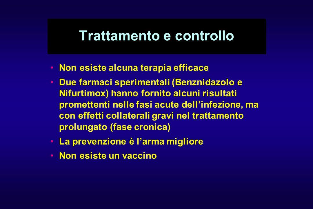 Trattamento e controllo Non esiste alcuna terapia efficace Due farmaci sperimentali (Benznidazolo e Nifurtimox) hanno fornito alcuni risultati promettenti nelle fasi acute dell'infezione, ma con effetti collaterali gravi nel trattamento prolungato (fase cronica) La prevenzione è l'arma migliore Non esiste un vaccino