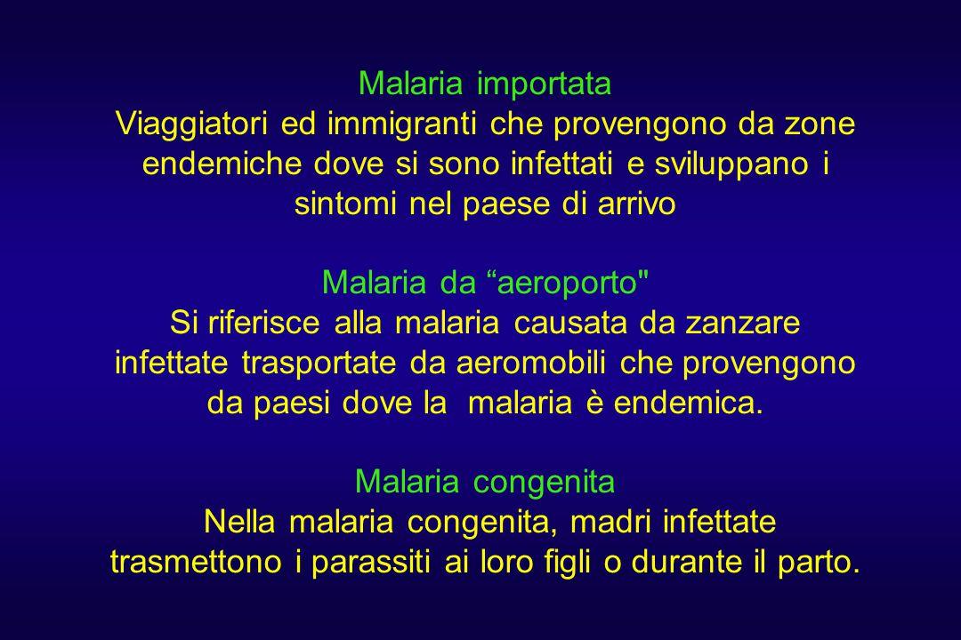 Malaria importata Viaggiatori ed immigranti che provengono da zone endemiche dove si sono infettati e sviluppano i sintomi nel paese di arrivo Malaria