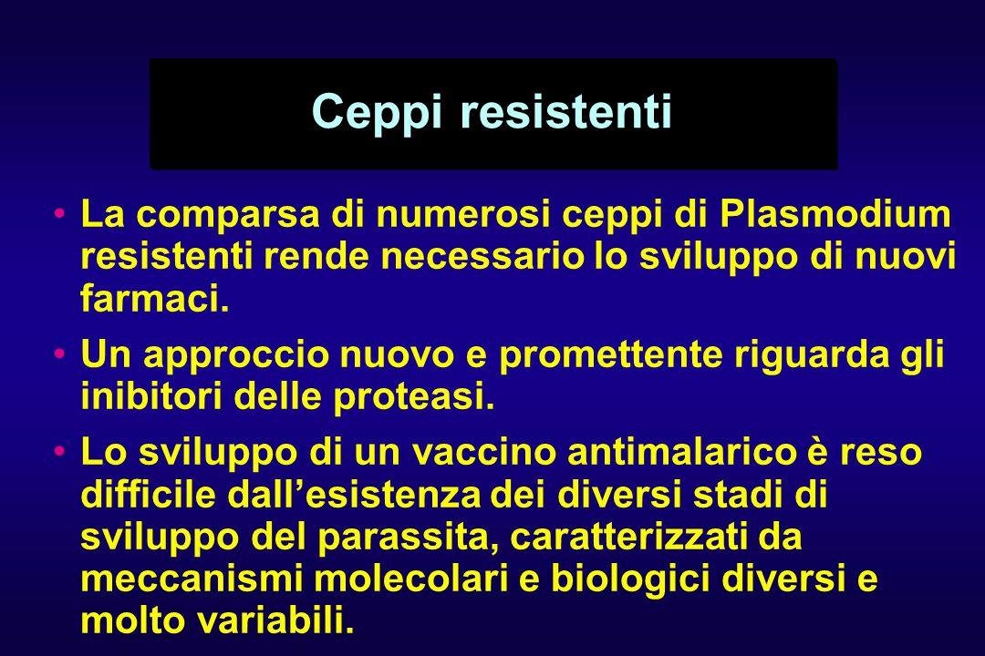 Ceppi resistenti La comparsa di numerosi ceppi di Plasmodium resistenti rende necessario lo sviluppo di nuovi farmaci. Un approccio nuovo e promettent