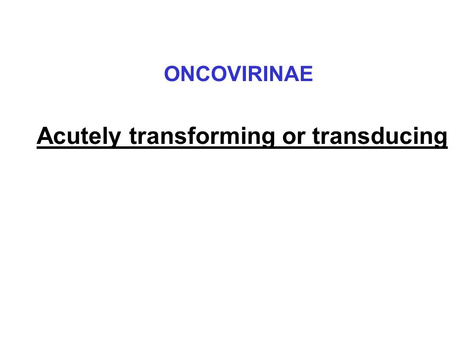 Acutely transforming or transducing ONCOVIRINAE