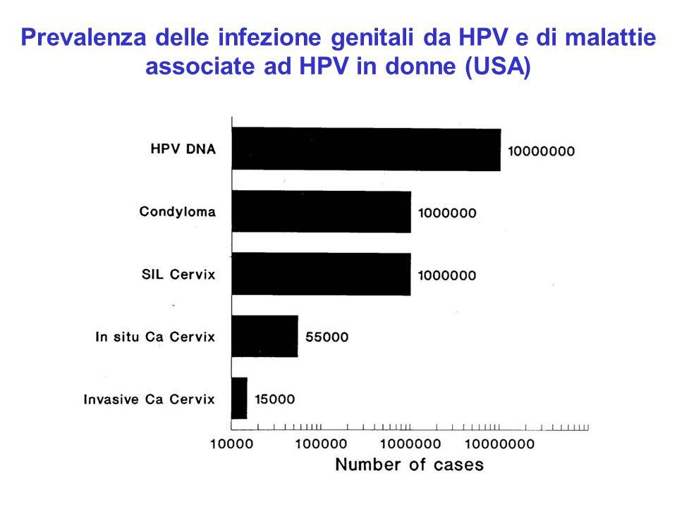 Prevalenza delle infezione genitali da HPV e di malattie associate ad HPV in donne (USA)