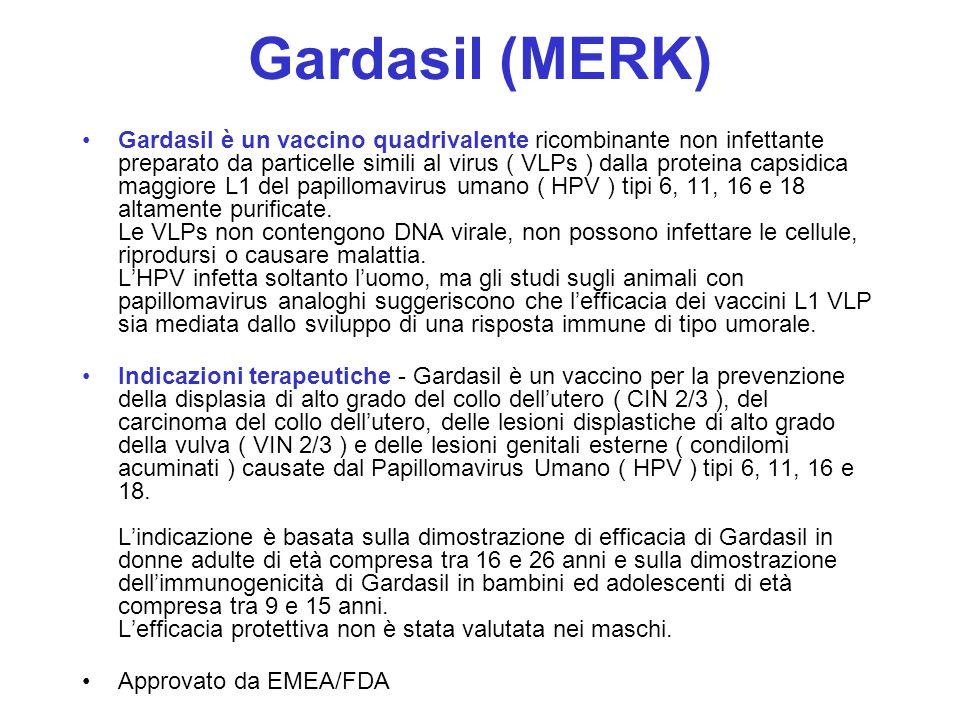 Gardasil (MERK) Gardasil è un vaccino quadrivalente ricombinante non infettante preparato da particelle simili al virus ( VLPs ) dalla proteina capsid