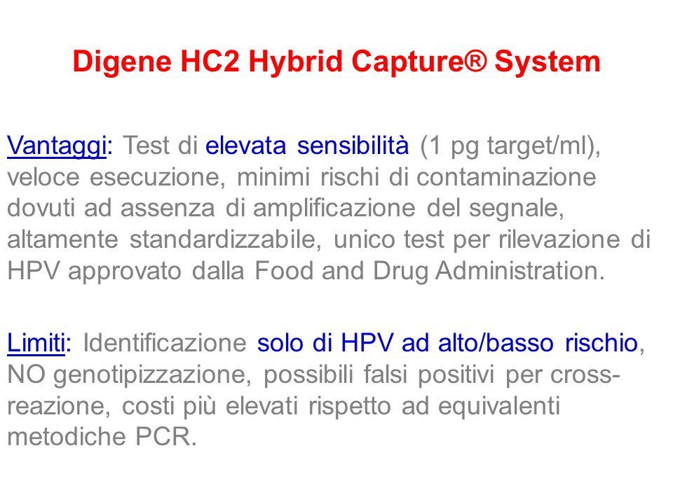 Digene HC2 Hybrid Capture® System Vantaggi: Test di elevata sensibilità (1 pg target/ml), veloce esecuzione, minimi rischi di contaminazione dovuti ad