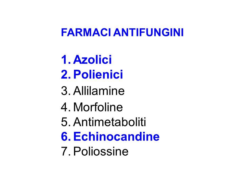 FARMACI ANTIFUNGINI 1.Azolici 2.Polienici 3.Allilamine 4.Morfoline 5.Antimetaboliti 6.Echinocandine 7.Poliossine