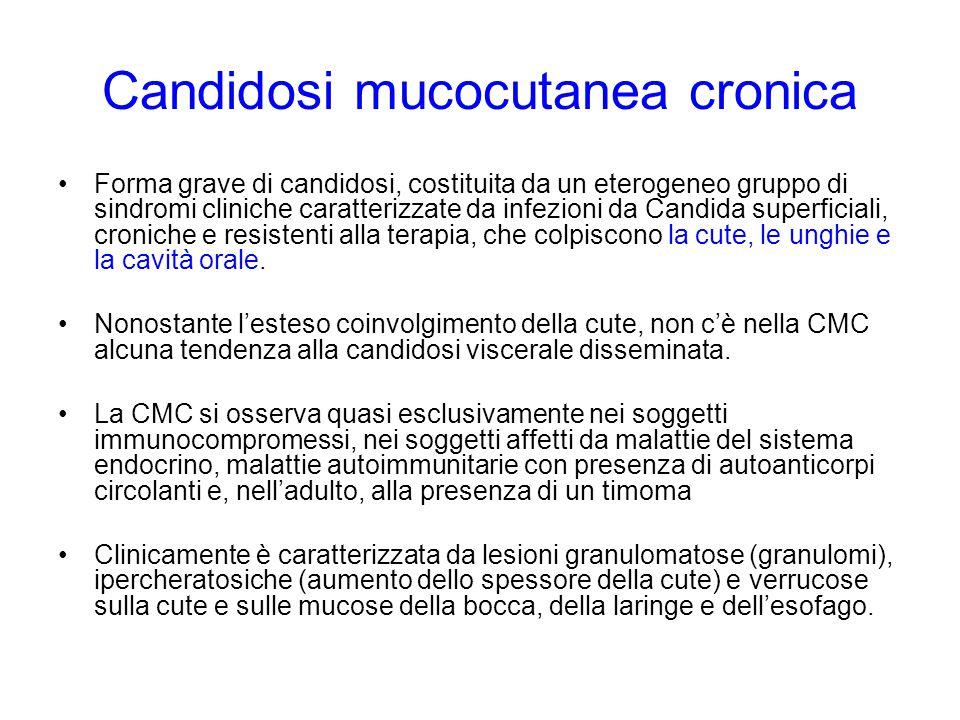 Candidosi mucocutanea cronica Forma grave di candidosi, costituita da un eterogeneo gruppo di sindromi cliniche caratterizzate da infezioni da Candida